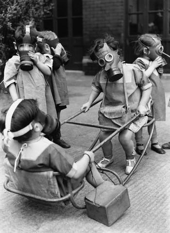 Children Play Wearing Gas Masks
